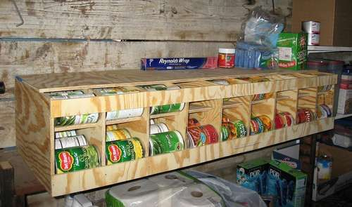 Make an 81 can capacity first-in-first-out can dispenser/organizer -from one sheet of plywood!