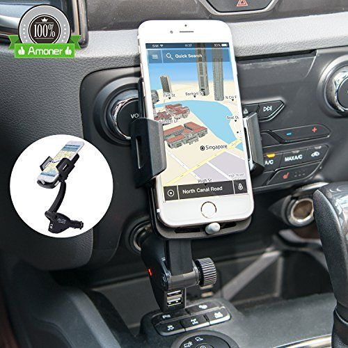 [Updated+Version]+3-in-1+Multifunctional+Car+Mount+++Car+Charger+++Cigarette+Lighter+Power+Adapter,+Amoner+Universal+Car+Mount+w/+Dual+USB+3.1A+Phone+Charger+for+iPhone,+Samsung+and+More+Smartphones