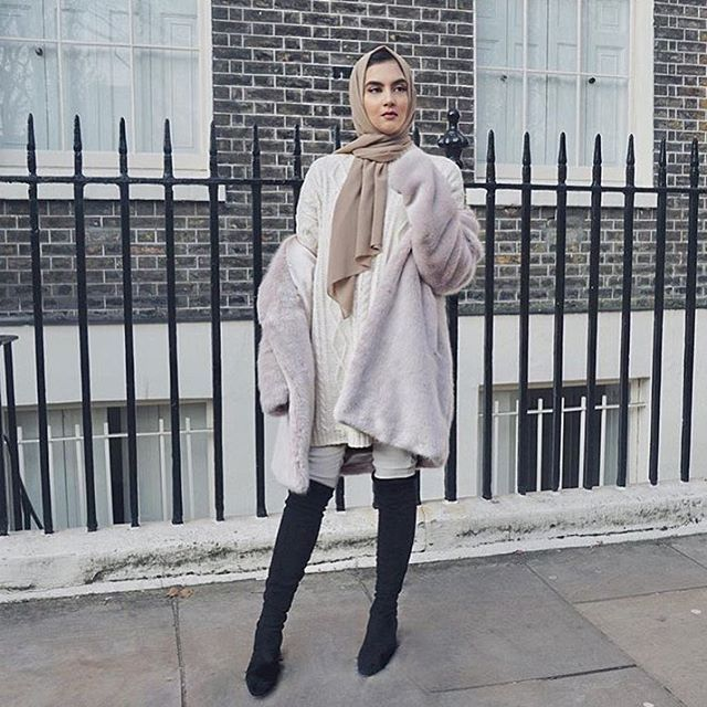 Knee high boots, long comfy sweater, paired with our Light Taupe Premium Chiffon wrap @zaraazix look is on point mA! ✨