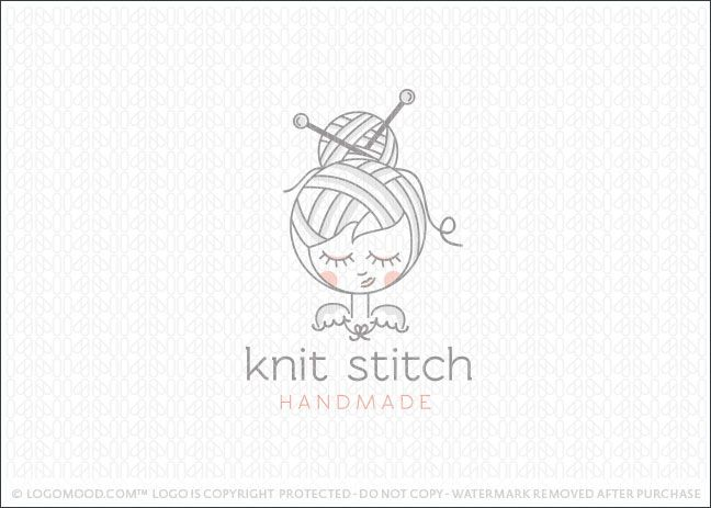 Logo for sale: Cute little girl with her hair style designed to look like spun yarn & wool, with two sewing needles placed in the girl's hair.