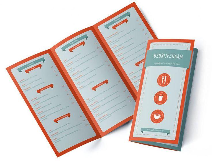 Menukaart Banner menu design layout Simpel, strak en flat design menukaart design.  Dit menu ontwerp is simpel en strak in de 'flat design' trend. Door het gebruik van banners wordt er een duidelijk onderscheid gemaak tussen de koppen en tekst. De iconen zorgen voor een modern (flat) menu ontwerp waarin de gerechten goed leesbaar zijn. Deze menukaart is geschikt voor een ijssalon, strandpaviljoen, cafetaria cafe en meer.