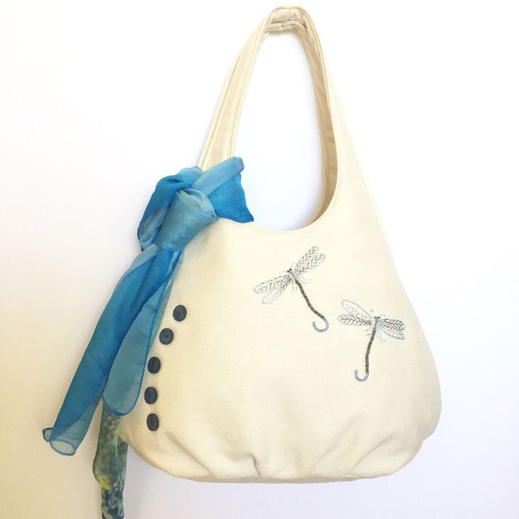 Shoulder Bag Cream Bull Denim with blue Embroidered Dragonflies and scarf by EverSewNice on Etsy