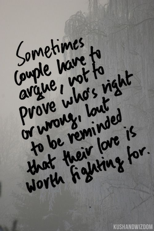 sometimes couples have to argue, not to prove whos right or wrong, but to be reminded that their love is worth fighting for. excellent quote!