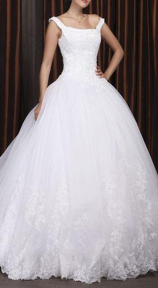 Ball Gown Off-the-shoulder Chapel Train Satin Organza Wedding Dress
