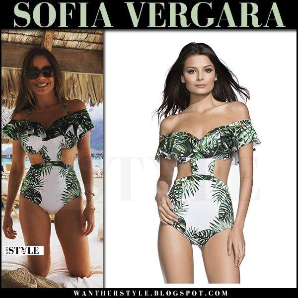 Sofia Vergara in white green palm print cutout swimsuit