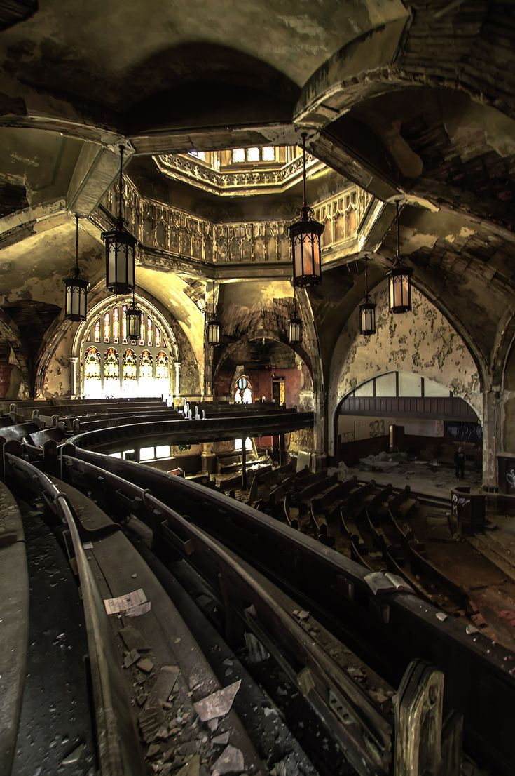 An abandoned church in Detroit, Michigan.  Very well known amongst Urban Explorers and Photographers.  Words can't describe what it was like to walk in here and see this in person in abandoned Detroit