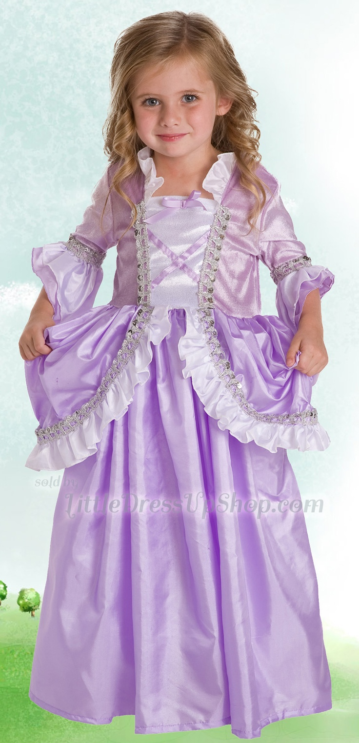 Rapunzel Dress Up Costume Ruffle Style-This classic princess dress includes a glittered purple and white velvet bodice with beautiful silver sequin lace and purple criss cross trim, along with fancy mid-length sleeves #pretend #DressUp #Rapunzel www.littledressupshop.com