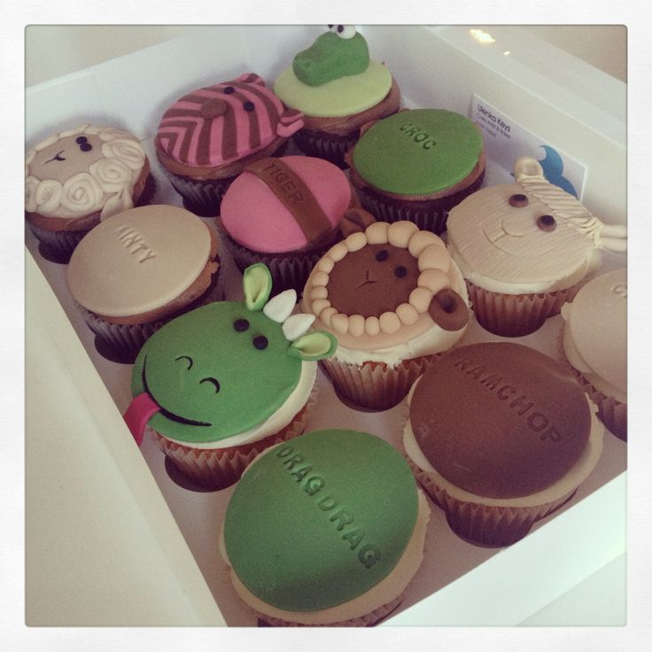 Cupcakes made to look like a child's favourite toys & their names