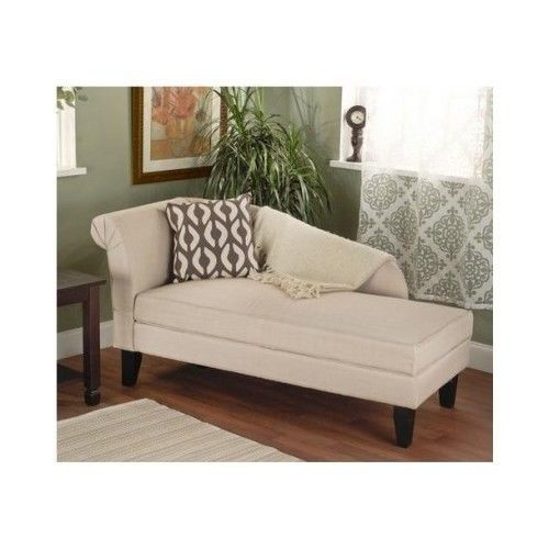 Cotton Storage Chaise Lounge Chair Reading Book Living Room Library B