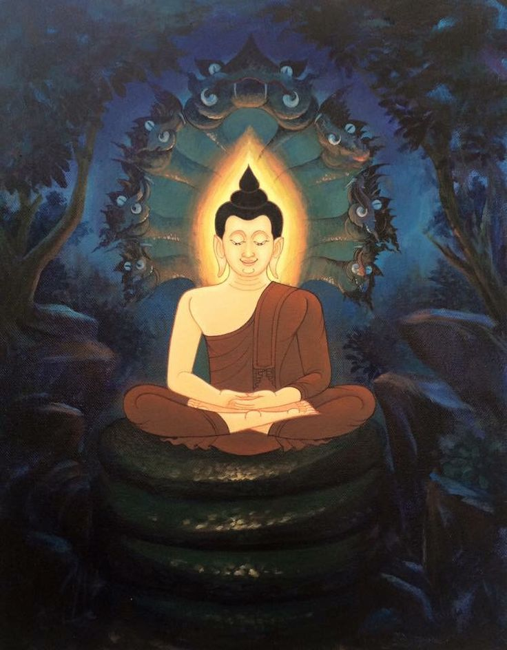 a style of Buddha with a naga over His head