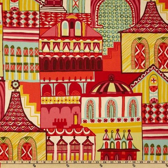 Zhivago Traditional  Russian Folklore AH Fabric Large Scale Village Town Print on Red