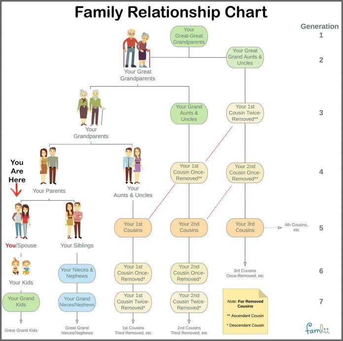 Simple Family Relationship Chart For Naming Kinfolk Family Relationship Chart Relationship Chart Family Tree Chart