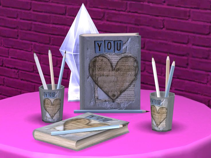 This unique set created specially for romantic writers. Open the book, take a pencil and start to write. What your story will be about?  Found in TSR Category 'Sims 4 Downloads'