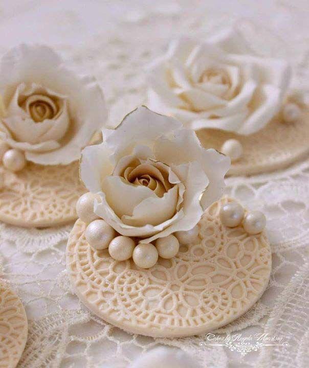 Elegant Rose Wedding Cupcake Toppers