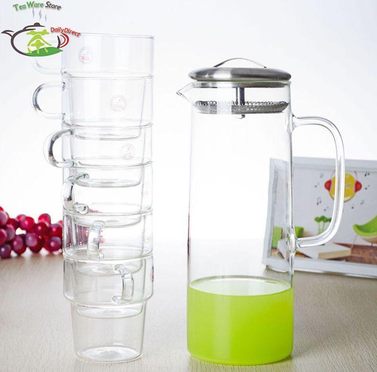 1x 7in1 комплект C - большая огромная 1350 мл прозрачное стекло чайник воды чайник w / нержавеющей стали фильтр крышкой + 6 * 300 мл стек-свадебные кружки(China (Mainland))