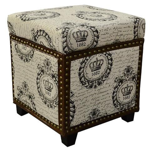 Nail Head French Decor Storage Ottoman with Leather