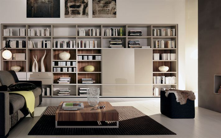 Scarica sfondi interni moderni, biblioteca, libreria moderna armadio