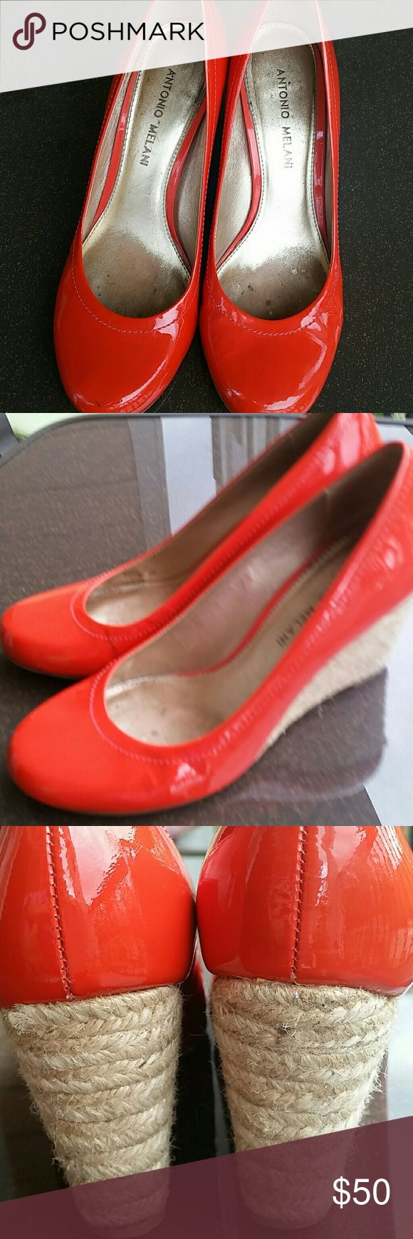 ANTONIO MELANI Orange patent wedges 7 1/2 These are an orange red , there is a tiny flaw I captured on photo...they are in good condition otherwise and such a smart looking shoe .... ANTONIO MELANI Shoes Wedges
