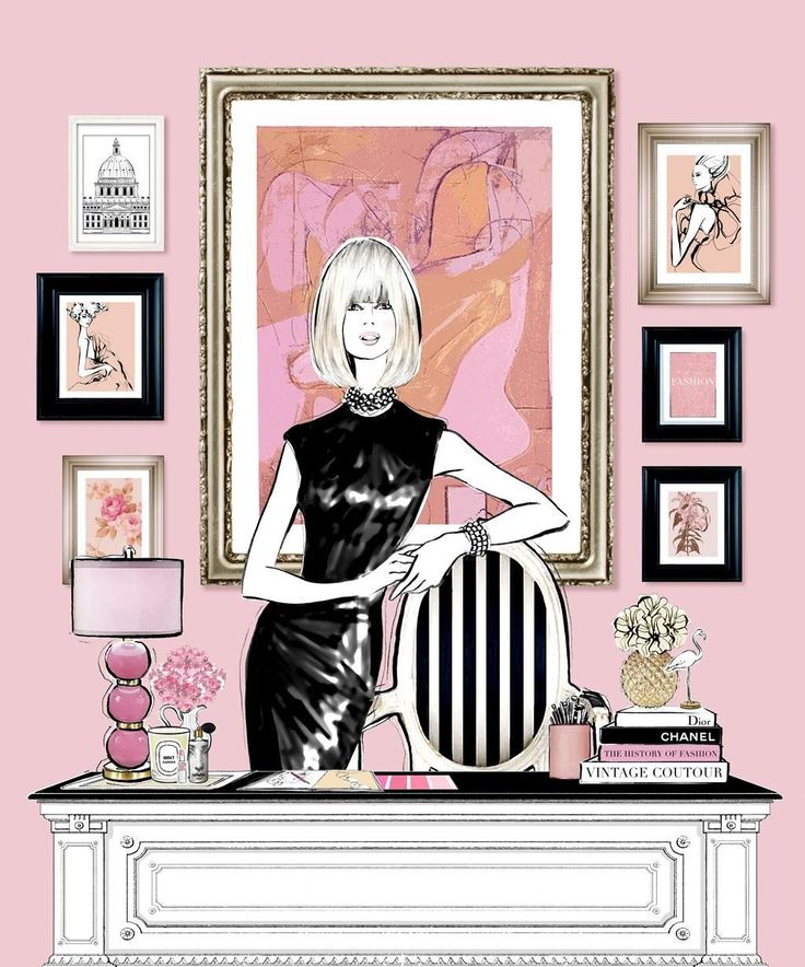 Pink and black office