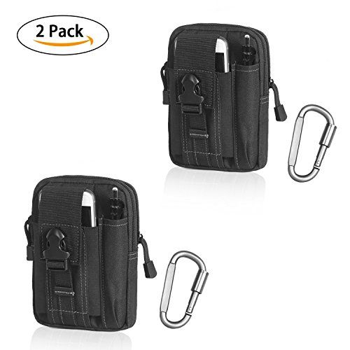 Compact Multipurpose Tactical Molle EDC Utility Gadget Pouch Tools Waist Bag with Cell Phone Holster Holder (Black (White thread)(2 pack)). For product & price info go to:  https://all4hiking.com/products/compact-multipurpose-tactical-molle-edc-utility-gadget-pouch-tools-waist-bag-with-cell-phone-holster-holder-black-white-thread2-pack/