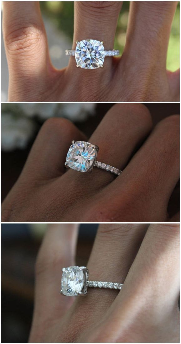 3222d741f6c2a 5 Carat Cushion Cut Forever One Moissanite & Diamond Hidden Halo ...