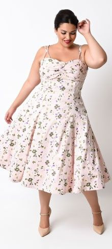 Iconic By UV Plus Size 1950s Light Pink Floral Carnaby Swing Dress