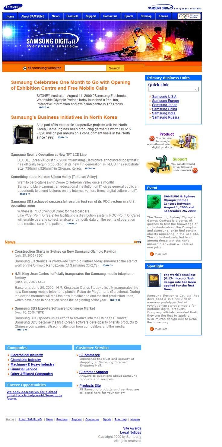 Samsung website in 2000
