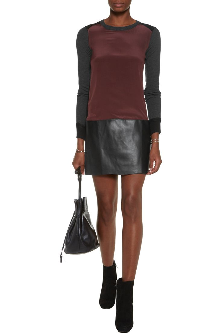 MODEL IS 175 cm - Bailey 44Silk crepe de chine, faux leather and jersey mini dressback