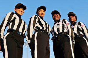 From left, Krystle Apellariz, Sebrina Brunson, Yvonda Lewis and Tangela Mitchell were among the seven-official crew who worked Thursday's game between Lane College and Miles College.