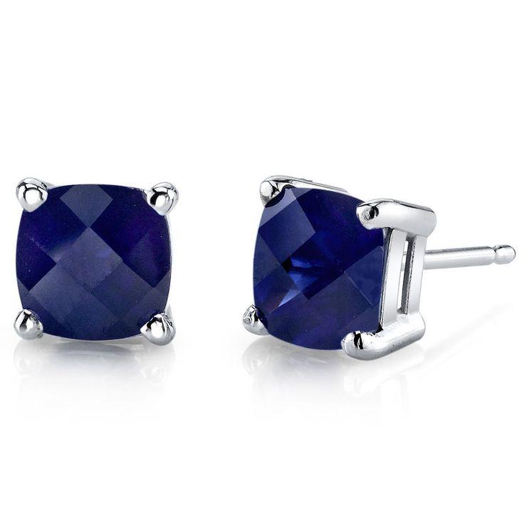 Women's 14k White Gold Cushion Cut Blue Sapphire Stud Earrings