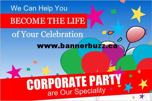 Special Corporate Party Vinyl Banner. Personalize corporate party vinyl banner online from www.bannerbuzz.ca