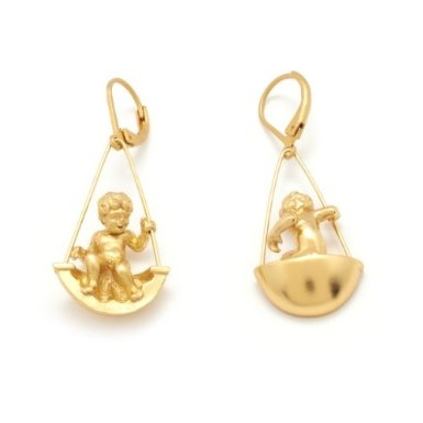 Swinging Cherub Hook Earrings