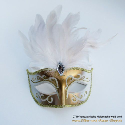 Karnevals Halbmaske venezianisch gold weiß #Maske #Faschingsmaske #Karnevalsmaske