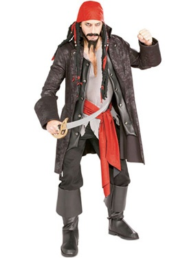 A unique and fun mens pirate costume that is sure to make you stand out on a sea of Jack Sparrows. One of our favourite looking outfits on our list of the top 10 Mens Pirate costumes.