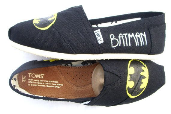 The Batman - Black and Yellow Custom TOMS From FruitfulFeet on Etsy @Krista McNamara Blankenship