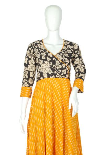 Yellow Ikat and Kalamkari Angrakha Anarkali – Desically Ethnic