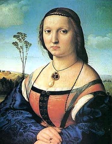 라파엘로 - 마달레나 도니부인의 초상  라파엘로가 다빈치를 동경하고 그의 표현법과 색채사용법을 공부했다는 것은 널리 알려진 이야기지만, 그가 다빈치를 얼마나 존경했는지 한눈에 알 수 있는 그림이다. 이 그림은 피렌체의 부유한 상인이었던 도니부부를 위해 그린 초상화로, 남편인 아뇰로 도니의 초상화와 한 쌍으로 그려졌습니다. 라파엘로가 이 그림을 그린 시점은 그가 다빈치의 모나리자를 보고 난 후라고 생각된다.  왜냐하면 다빈치 풍의 배경처리,모나리자와 완전히 같은 구도, 같은자세를 취하고 있기 떄문이다. 표정은 모나리자보다 딱딱하게 보일 수 있지만 화사한 색감과 품위있는 부인의 느낌이 고풍스러워 보인다. 모나리자와 비슷한 듯 보이지만 두 그림의 뚜렷한 다른 특징은, 모나리자가 스푸마토 기법으로 모호하고 신비스럽게 처리한점이라면 도니부인의 초상은 옷자락이나 손톱등 작은 부분도 섬세하게 표현한것에 있다고 보여진다