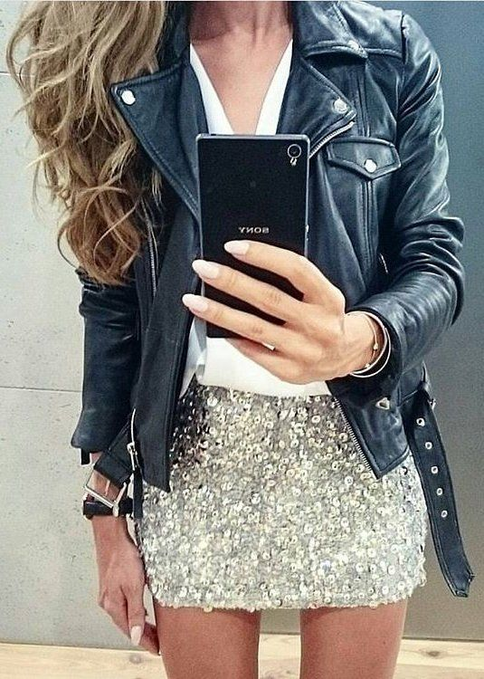 #fall #fashion · Leather Jacket + Sequin Skirt