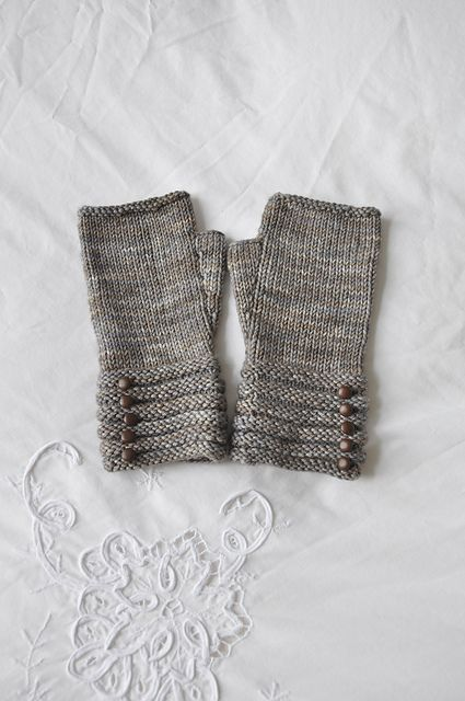 welted fingerless mitts, pattern for purchase on Ravelry
