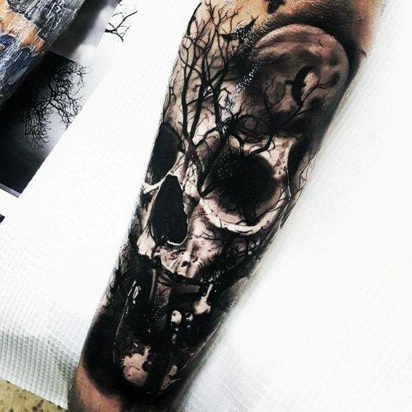 40 Schädel-Baum-Tattoo-Designs Für Männer – Cool Ink-Ideen #Cool #für #InkIdeen #Männer #SchädelBaumTattooDesigns