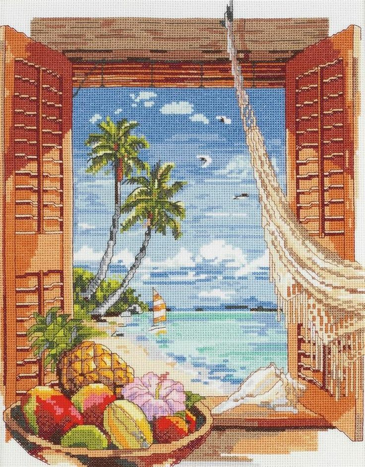 Janlynn - Tropical Vacation Window Counted Cross Stitch Kit # 023-0382