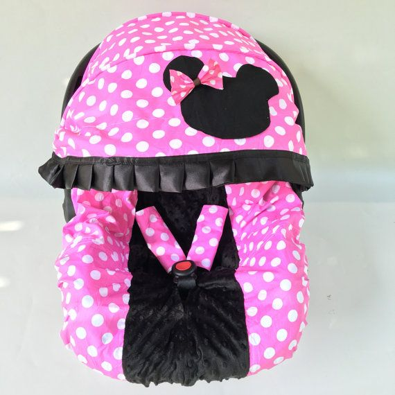 Available on March 15th, 2016. Place order to reserve yours~  This item include one infant car seat cover with replacement canopy cover and removable flowers. Match headband included for free! This item makes a perfect shower gift! For baby boys and baby girls!!! Beautiful, Quality, Soft, and Snugly! Easy ON/OFF Infant Car Seat with Fully Lined Canopy. Easy Machine Wash, just put the cover in the washing bag. No matching blanket so far. Pattern: pink/black  The car seat cover listed...