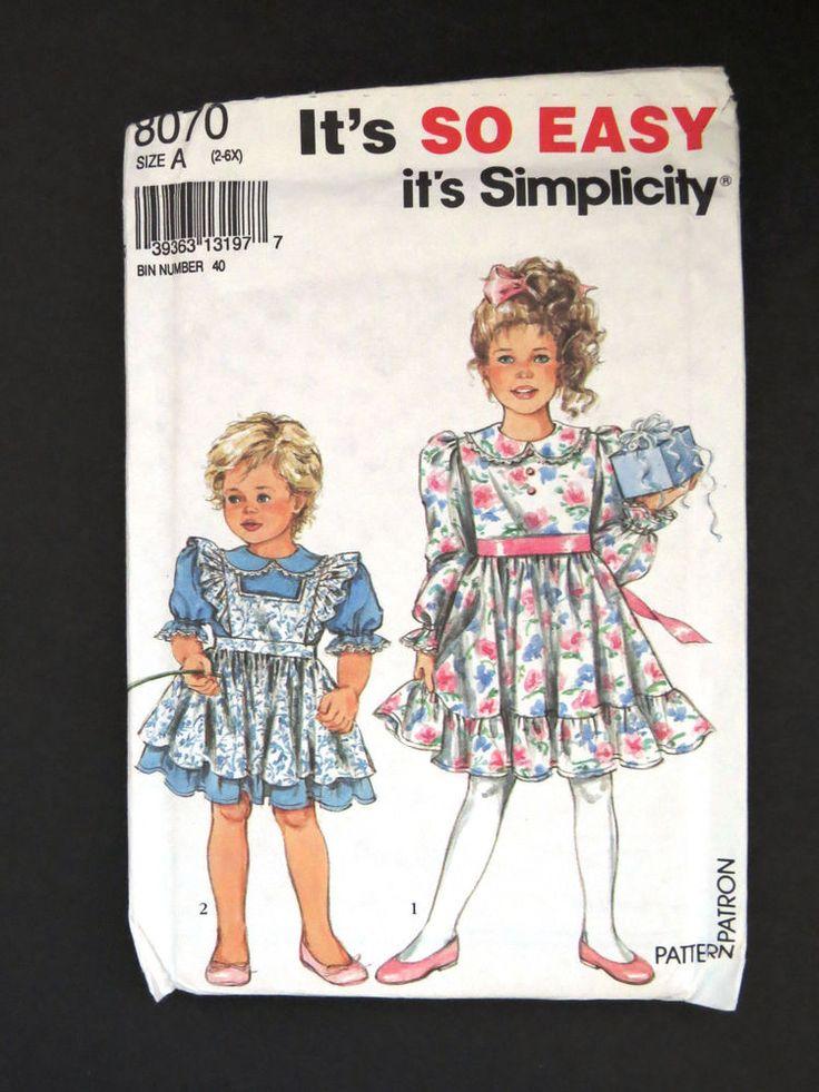 Size 2 to 6X Girls Dress Pattern - Dress and Pinafore - Simplicity 8070 Uncut FF #Simplicity