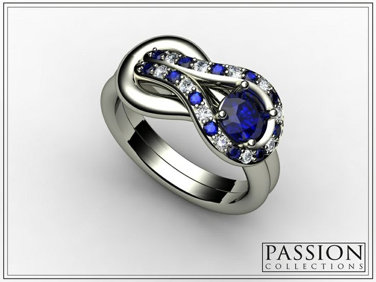 PC333SBD 14K White #Gold 1 Blue #Sapphire (0.53CT) 12 Blue Sapphires (0.17CT) 11 #WhiteDiamond (0.14CT) Total Weight of STONES (0.84CT/TW) #Ring #Jewelry #mode #fashion #customjewelry #wedding #bride