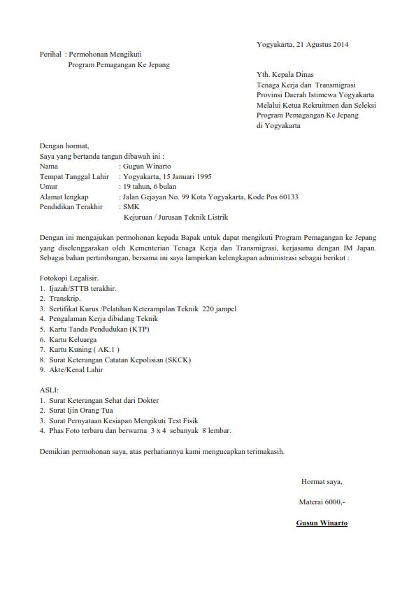 Contoh Surat Lamaran Kerja Tulis Tangan Alfamart