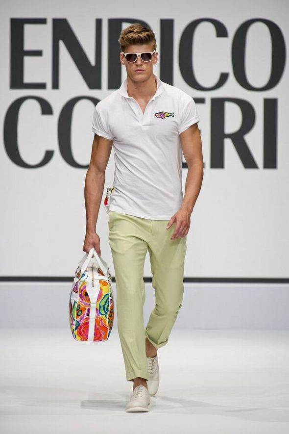 Enrico Coveri S/S 2013, casual men's style, white collared t-shirt worn with pastel trousers, perfect for summer