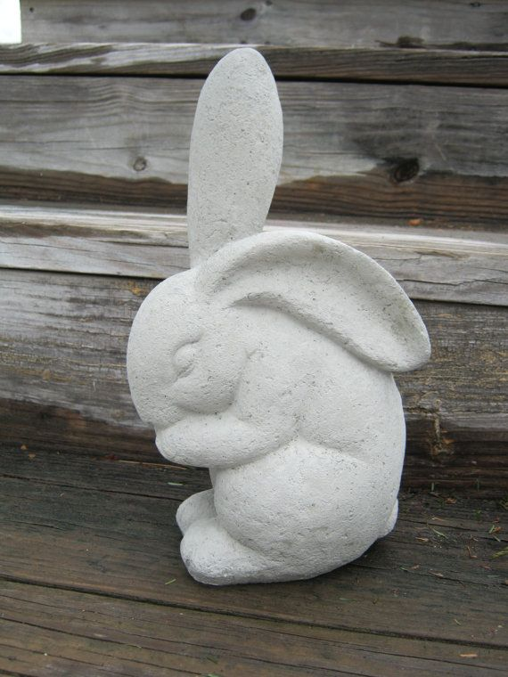 Rabbit Statue Large Concrete Garden Rabbits by WestWindHomeGarden, $24.95