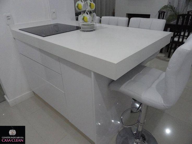 Construindo Minha Casa Clean: Tour pela minha Cozinha!!! Móveis Planejados e Pedras Brancas!