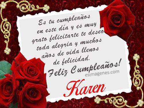 Feliz Cumpleanos Karen Tarjetas De Cumpleanos Con Nombres Libra
