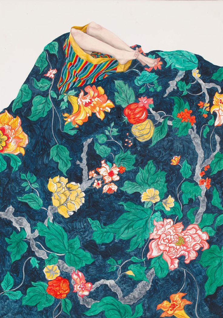 Monica Rohan swallowed 201435x50cmoil on boardpattern from Margaret Olley's wallpaper
